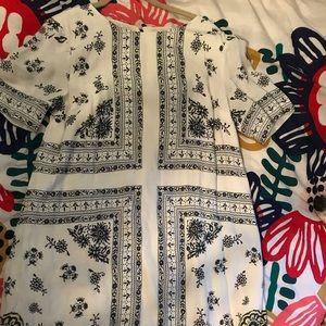 Loft white and grey pattern swing dress